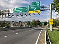 2019-05-17 17 23 12 View east along Interstate 68 and U.S. Route 40 and north along U.S. Route 220 (National Freeway) at Exit 43A (Johnson Street, TO Ridgeley, WV) in Cumberland, Allegany County, Maryland.jpg