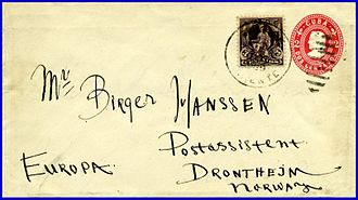 Stamped envelope - A 2 centavos stamped envelope with embossed Columbus indicium and 3c adhesive postage stamp from Cuba to Norway ca. 1904