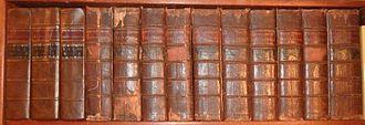 Encyclopædia Britannica Second Edition - Encyclopædia Britannica, the three volumes on the left are the first edition replica, next 10 volumes are the second edition