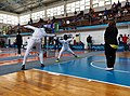 2nd Leonidas Pirgos Fencing Tournament. Lunge and touch for the fencer Stergios Delis.jpg