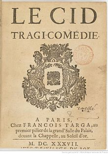 Title page of the 1673 printing of Le Cid