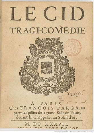 Le Cid - Title page of 1637 printing of Le Cid.