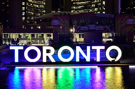 The 3D Toronto sign placed in Nathan Phillips Square for the Games became a symbol of their positive response, and of the city as a whole. 3DTORONTOSignNathanPhillipsSquare11.jpg