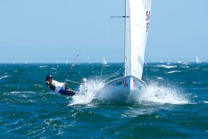 470 (dinghy) - 2008 470 World Champions Erin Maxwell and Isabelle Kinsolving sailing upwind.