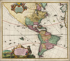 João da Gama - The Americas in 1720 by Johann Homann with Terra Esonis recognized by João da Gama, traveling from China to New Spain