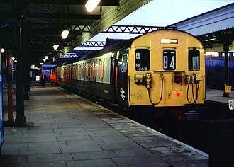 Willesden Junction station - A Class 501 awaits departure from the bay platforms, bound for Broad Street (which closed in 1986)