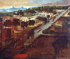 "Iztacalco - ""Paseo de la Viga con la iglesia de Iztacalco"" (Paseo de la Viga with the church of Iztacalco), 1706 oil from Pedro Villegas."