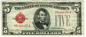 Series of 1928 (United States Currency) - A $5 United States Note, Series of 1928F.