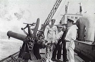 BL 7.5-inch naval howitzer - On SS Boonah