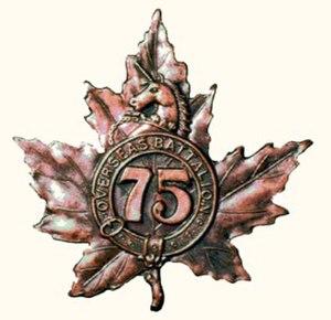 75th Battalion (Mississauga), CEF - Cap badge of the 75th Battalion (Mississauga), CEF