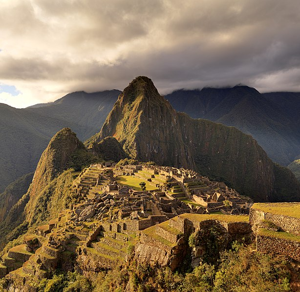 The mountain Huayna PicchuIn the front of the ruins of Machu Picchu