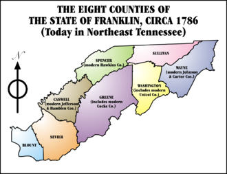 State of Franklin - The State of Franklin and its counties