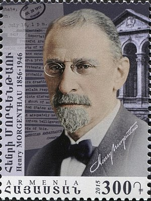 "Henry Morgenthau Sr. - Morgenthau on a 2015 Armenian stamp from the series ""Centennial of the Armenian Genocide"""