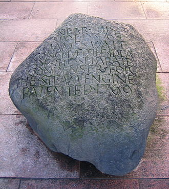 Glasgow Green - Stone commemorating James Watt's inspiration.