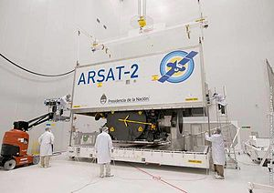 INVAP - ARSAT-2 being stored for transfer to French Guiana.
