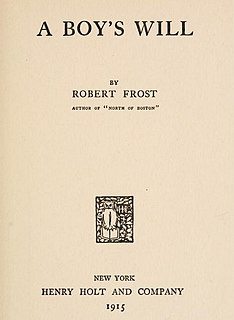 <i>A Boys Will</i> Book by Robert Frost