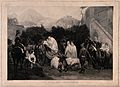 A brigand on his cart to execution confesses to the priest. Wellcome V0041683.jpg