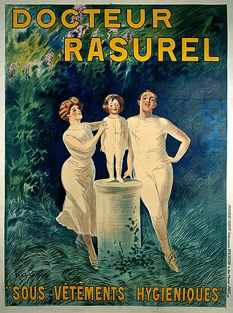 """Leonetto Cappiello - Image: A family demonstrating underclothes sold by """"Docteur Rasurel Wellcome L0023026"""
