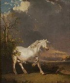 A horse in a landscape startled by lightning by James Ward.jpg