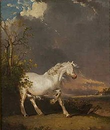 Le cheval blanc dans les mythes dans CHEVAL 220px-A_horse_in_a_landscape_startled_by_lightning_by_James_Ward