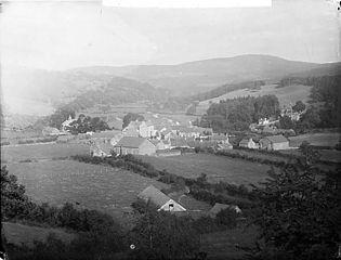 A view of Llansannan from Hendre Wood