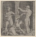 A woman kneeling at centre reaching up with her right hand to place a ring on the finger of a naked man holding a curved stick that is also held by another man at left MET DP854391.jpg