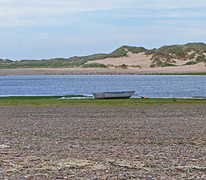 Aberdeenshire - Ythan Estuary nature reserve, with tern colonies and dunes in background.
