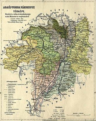 Abaúj-Torna County - Image: Abaúj Torna county administrative map