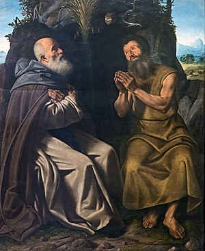 Girolamo Savoldo - Saint Anthony abbot and saint Paul hermit. Gallerie dell'Accademia