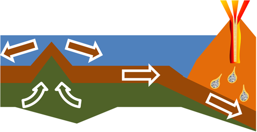 An oceanic plate is added to by upwelling (left) and consumed at a subduction zone (right). Accretion-Subduction.PNG