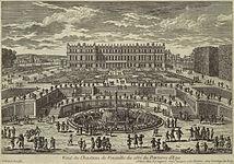 Adam Perelle, Vido de Versailles, ĝardenofasado, 1680s.jpg