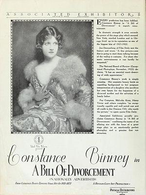 A Bill of Divorcement (1922 film) - Advertisement for film featuring Constance Binney