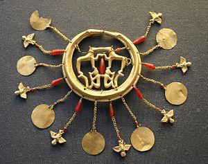 Aegina Treasure - Elaborate gold earring (one of a pair) from the Aegina Treasure in the British Museum