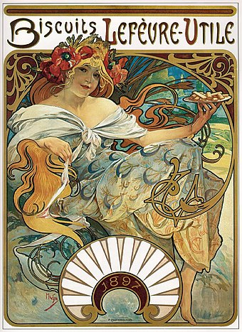 Alphonse Mucha, Advertise with Biscuits Lefevre-Utile, 1897 Affiche Biscuits Lefevre-Utile Mucha.jpg