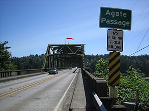 Agate Pass - The deck of the Agate Pass Bridge, carrying State Route 305 over the pass