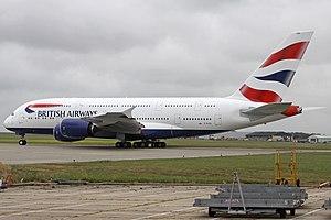 Manston Airport - A British Airways Airbus A380 undergoing crew training at Manston
