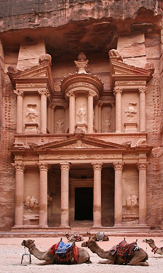 Jordan - Al-Khazneh (the treasury) in the ancient city of Petra, carved into the rock in 312 BC by the Arab Nabataeans.