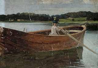The Artist's Sister Berta in a Rowing Boat, study