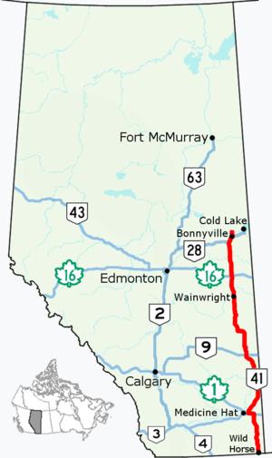 Alberta Highway 41 - Image: Alberta Highway 41 Map