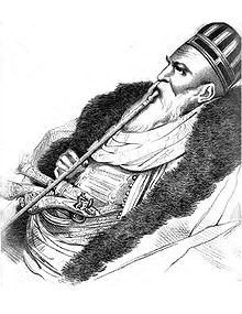 Sketch of Ali Pasha of Ioannina smoking a water pipe