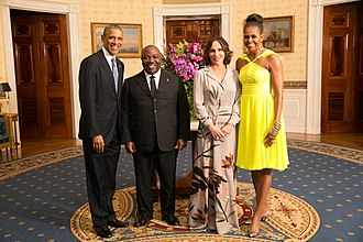 Gabon - Ali Bongo Ondimba, President of the Gabonese Republic, his wife Sylvia Bongo Ondimba, US president Barack Obama and his wife Michelle Obama in 2014