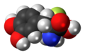 Alpha-Difluoromethyl-DOPA molecule spacefill.png