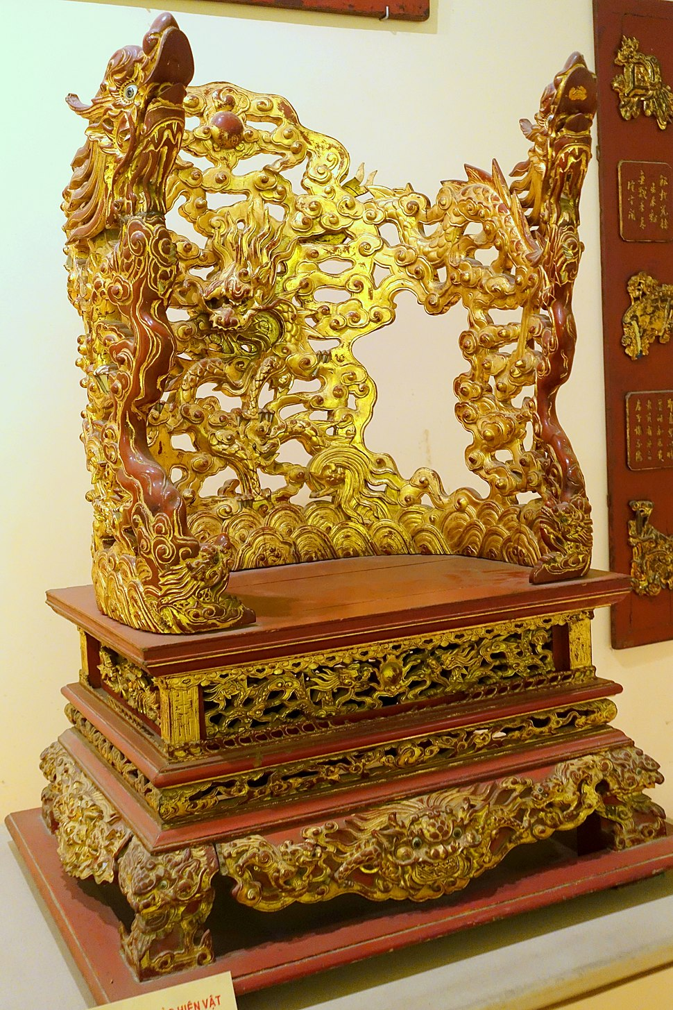 Altar in the shape of a chair, Nguyen dynasty, 19th to early 20th century, crimson and gilded wood, view 2 - National Museum of Vietnamese History - Hanoi, Vietnam - DSC05626