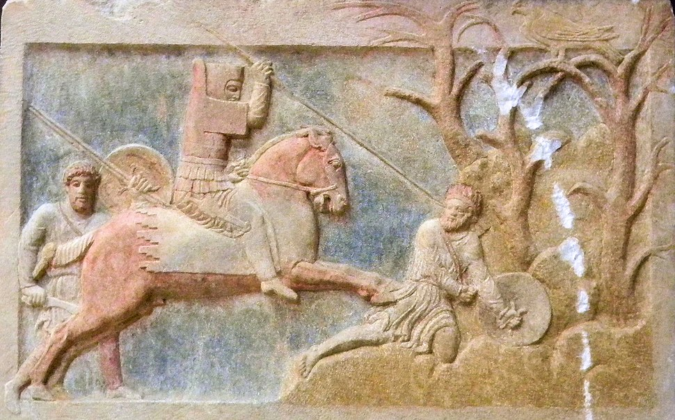 Altikulac Sarcophagus Dynast of Hellespontine Phrygia attacking a Greek psiloi early 4th century BCE