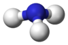 Ball-and-stick model of the ammonia molecule