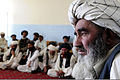 An Afghan man listens to his district's sub governor during a shura, or meeting, in Gardez, Afghanistan, July 4, 2011 110704-F-AV193-008.jpg