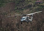 An MH-60S Sea Hawk helicopter flies over the island Dominica during U.S. citizen evacuation. (36644947893).jpg