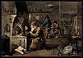 An alchemist with his assistants in his laboratory. Coloured Wellcome V0025540.jpg