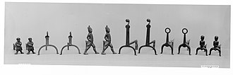 Andiron - American iron firedogs, 1770-1800. Hessians at 3rd from left