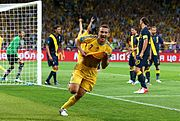 Andriy Shevchenko celebrates goal at the Euro2012 match against Sweden